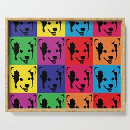 Corgi Pop art - dog pop art, corgi, cute, bright colorful, warholesque Serving Tray