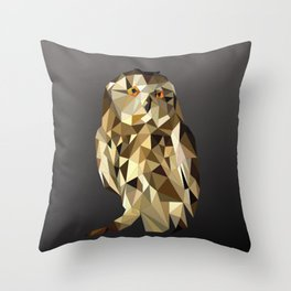 owl in brown and gold abstract geometric origami pattern on black background Throw Pillow