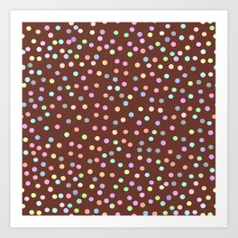 chocolate Glaze with sprinkles. Brown abstract background Art Print