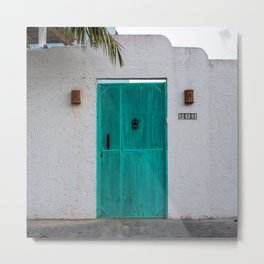 Turquoise Mint Door Metal Print