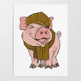 Pig in hat and scarf Poster
