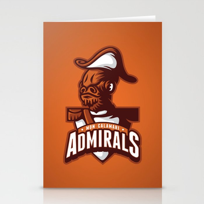 Mon Calamari Admirals on Orange Stationery Cards