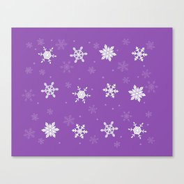 violet pattern with snowflakes Canvas Print