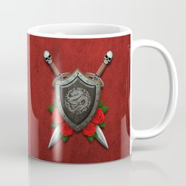 Shield with Chinese Dragon, Roses and Crossed Swords on Red Coffee Mug