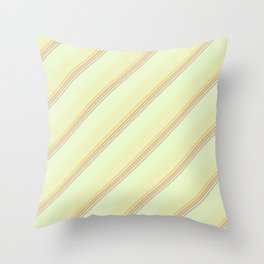 Spring Green Inclined Stripes Throw Pillow
