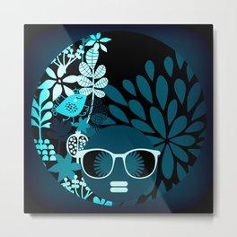 Afro Diva Teal Turquoise Aqua Metal Print