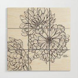 Ink Illustration of Summer Blooms Wood Wall Art