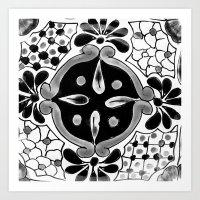 Black and White Talavera Seven Art Print