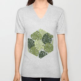 Monstera Hexagon Pattern Unisex V-Neck
