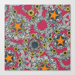 cirque fleur rose papaya star Canvas Print