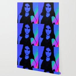 Ms. Gomez blue stripe art print Wallpaper