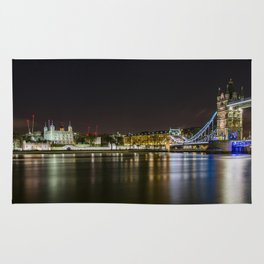 Night photo of Tower Bridge and the Tower of London with light reflections Rug