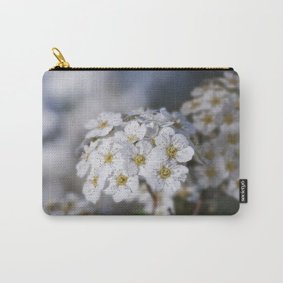 Bridal Wreath macro Carry-All Pouch