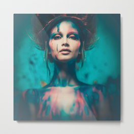 Young woman muse with creative body art and hairdo (4) Metal Print