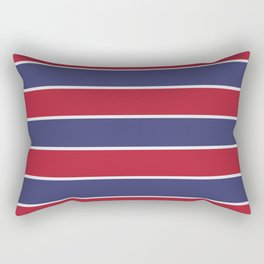 Large Red White and Blue USA Memorial Day Holiday Horizontal Cabana Stripes Rectangular Pillow