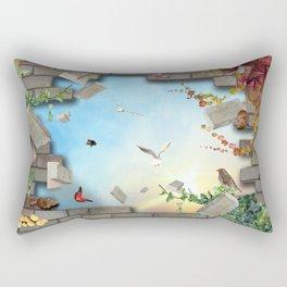 3D Bricks and Sky Rectangular Pillow