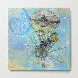 Steampunk Flying Machine Metal Print