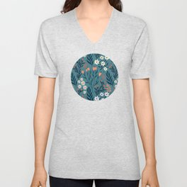 Beautiful Springtime Garden Daisy And Tulip Pattern Unisex V-Neck