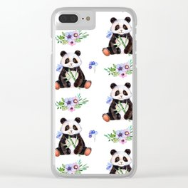 Garden Panda Clear iPhone Case
