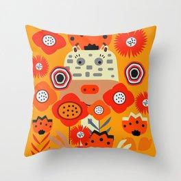 Baby giraffe and rabbits Throw Pillow