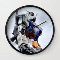 gundam Wall Clocks featuring Gundam Pride by Julie Maxwell