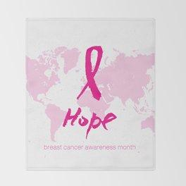 Vector watercolor pink ribbon - breast cancer awareness symbol Throw Blanket