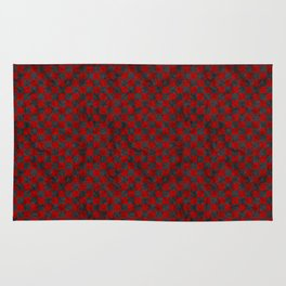 Retro Check Grunge Material Red Black Rug
