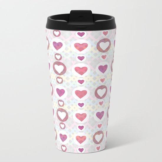 Pink hearts Metal Travel Mug