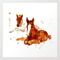HORSE art, horse paintings, foal painting, watercolor horses, watercolour horse Art Print