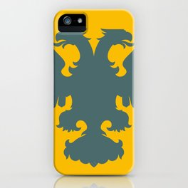 blue-gray double-headed eagle on yellow background iPhone Case