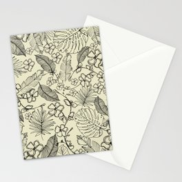 Monochrome Tropical Leaves and Flowers Stationery Cards