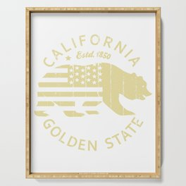 Vintage Retro California Republic Golden State Grizzly Bear American Flag Gift Serving Tray