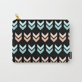 GEO RETRO ARROWS IN ROSE GOLD - BLUE Carry-All Pouch