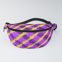 line pattern painting abstract background in purple and yellow Fanny Pack