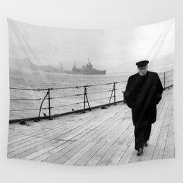 Winston Churchill At Sea Wall Tapestry