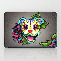 pit bull iPad Cases featuring Smiling Pit Bull in White - Day of the Dead Happy Pitbull - Sugar Skull Dog by Pretty In Ink
