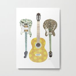 Guitar Collage Illustration Metal Print
