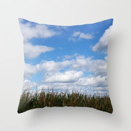"""Corn field in autumn with """"popcorn"""" clouds Throw Pillow"""