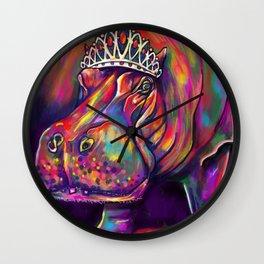 Hippo in Tiara Wall Clock