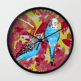 Blue Parakeets Wall Clock