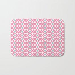 Geometric Pattern - Diamonds and Dots - Pink & Green Bath Mat