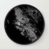 oakland Wall Clocks featuring oakland map california by Line Line Lines