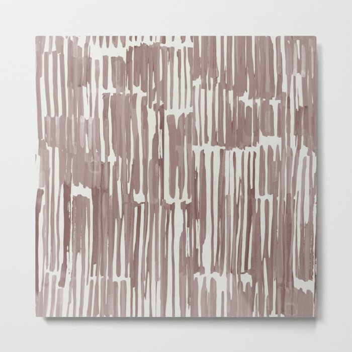 Simply Bamboo Brushstroke Red Earth on Lunar Gray Metal Print