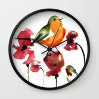 robin Wall Clocks featuring ROBIN by genie espinosa