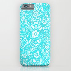Illustrated Flowers and Leaves - turquoise blue, pink, white Slim Case iPhone 6s