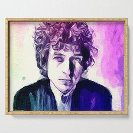 Bob Dylan stylized portratit Serving Tray