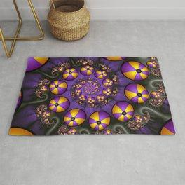 Playful Fractals Fun,  Modern Purple Yellow Spirals Rug