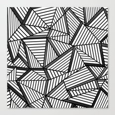 Ab Lines 2 Black and White Canvas Print