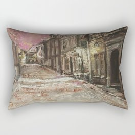 Old City Print Original Oil Painting on Canvas Rectangular Pillow