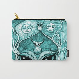 Owlette, The Owl Queen, in Aqua.  Original Illustration Artwork by Sheridon Rayment  Carry-All Pouch